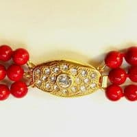 Elegant 3-row Necklace of Red Coral OUT OF STOCK